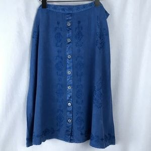 Soft Surroundings Embroidered Blue Skirt NWT